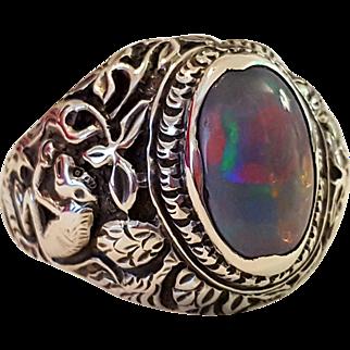 (Hold David C.) Vintage Hand Carved Sterling Silver Men's Opal Ring 12