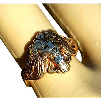 Vintage Rose/Yellow Gold Lion's Head Ring w/ Diamond 7 3/4