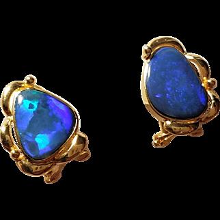 Vintage 14K Black Boulder Opal Pierced Leverback Earrings