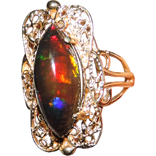 Vintage 14K Black Opal Filigree Ring 7.25