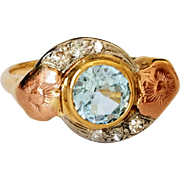 Vintage 14K Tri-Color Gold Blue Topaz Old Cut Diamond Ring 8 3/4
