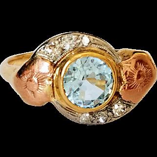 14K Tri-Color Gold Blue Topaz w/ Old Cut Diamond Floral Ring 8 3/4
