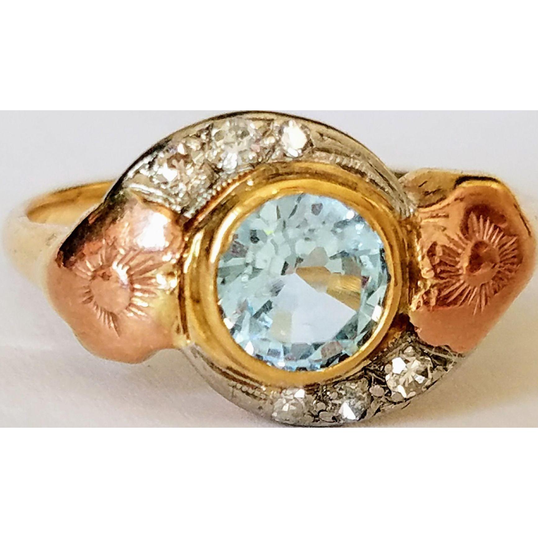 Vintage 14K Blue Topaz w/ Old-Cut Diamonds Ring 8.5