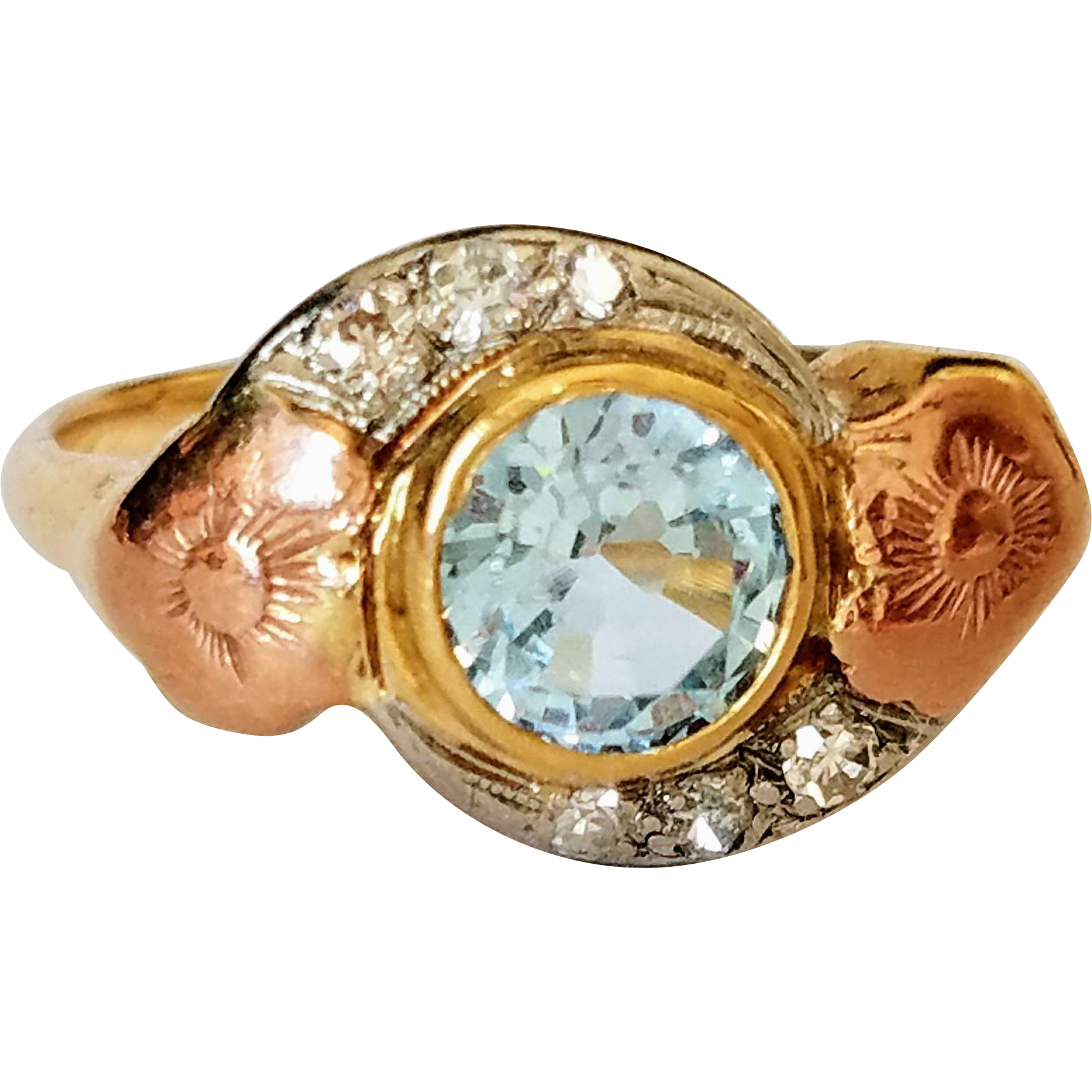 Vintage 14K Tri-Color Gold Blue Topaz Ring & Old Cut Diamonds 8.5