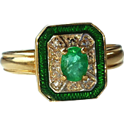 Vintage 14K Emerald Diamond Enamel Ring Sz 5