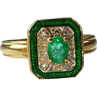 Vintage 14K Emerald Diamond Enamel Ring Sz 5