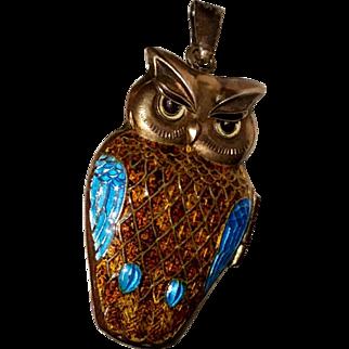 Vintage OWL Enameled Locket Pendant for Necklace