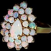 Vintage Natural Opal Cabochon Cluster Ring 8