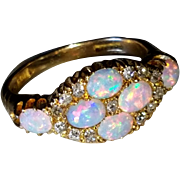 18K Antique Victorian Opal Mine Cut Diamond Ring 6.5