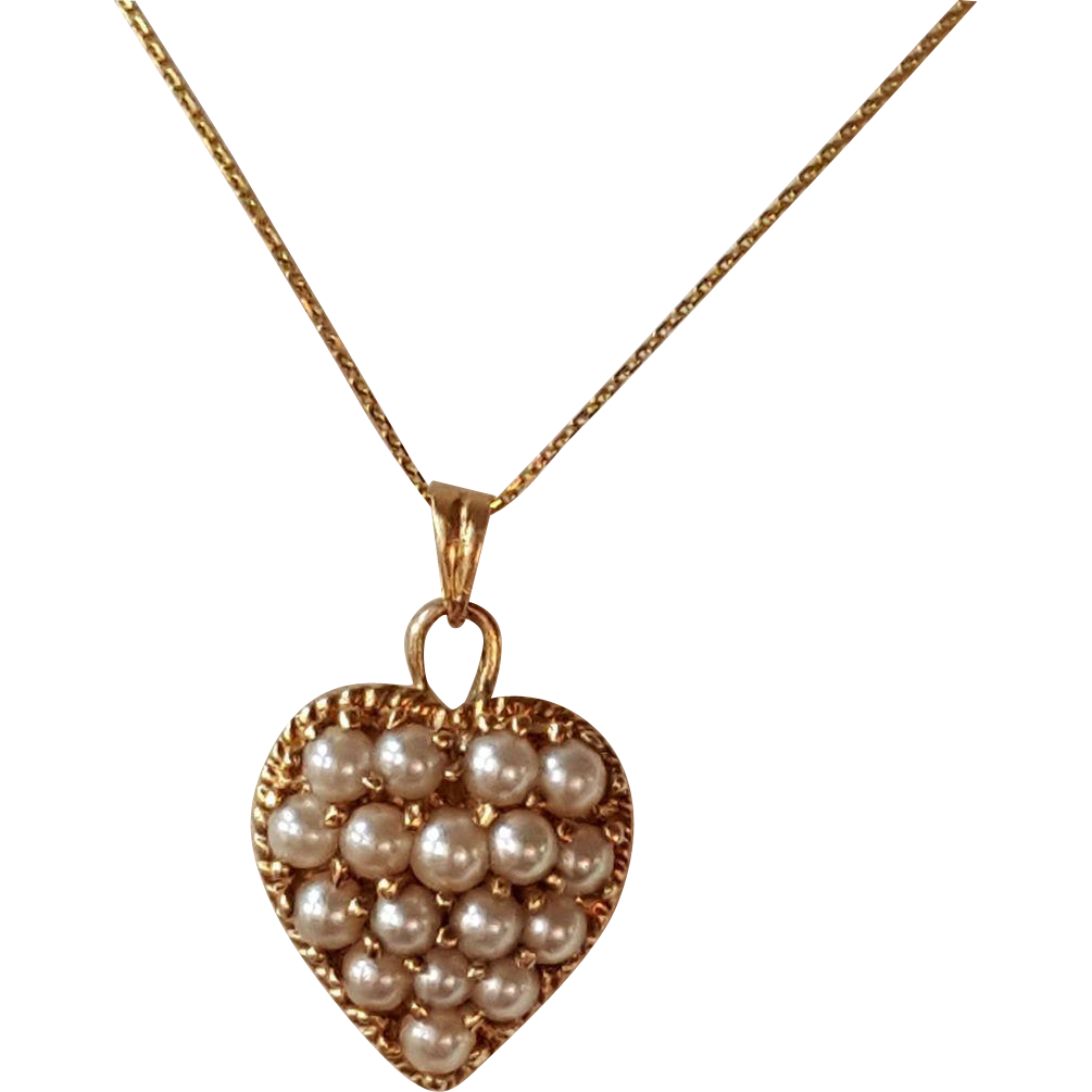 Victorian seed pearl heart pendant and 14k chain necklace sold victorian seed pearl heart pendant and 14k chain necklace sold ruby lane aloadofball Image collections