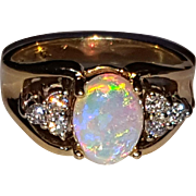 14K Vintage Natural Opal Diamond Ring 4.25