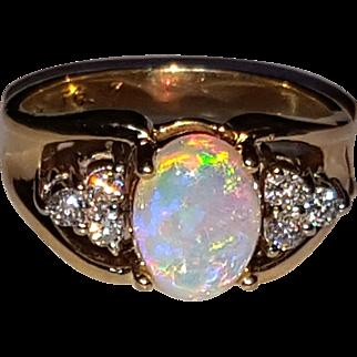 14K Natural Opal & Diamond Vintage Ring 4.25