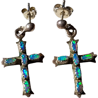 Vintage Sterling Silver Natural Opal Cross Earrings