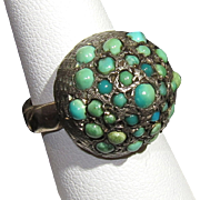 Antique Turquoise Cluster Victorian Sterling Silver Ring 5 3/4