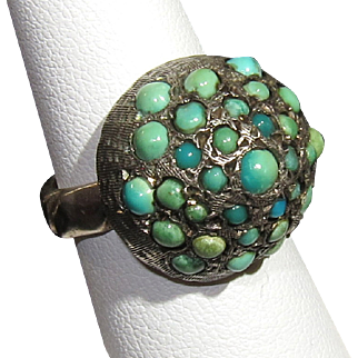 Unique Turquoise Cluster Victorian Sterling Silver Ring 5 3/4