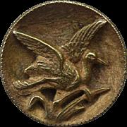 Vintage Victorian Brass Bird Button