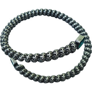 Gorgeous Silver and Emerald green Paste Bracelet