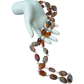 Early Antique Scottish Agate and Silver Necklace