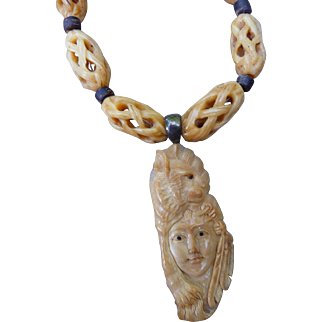 Vintage Native Carved Necklace