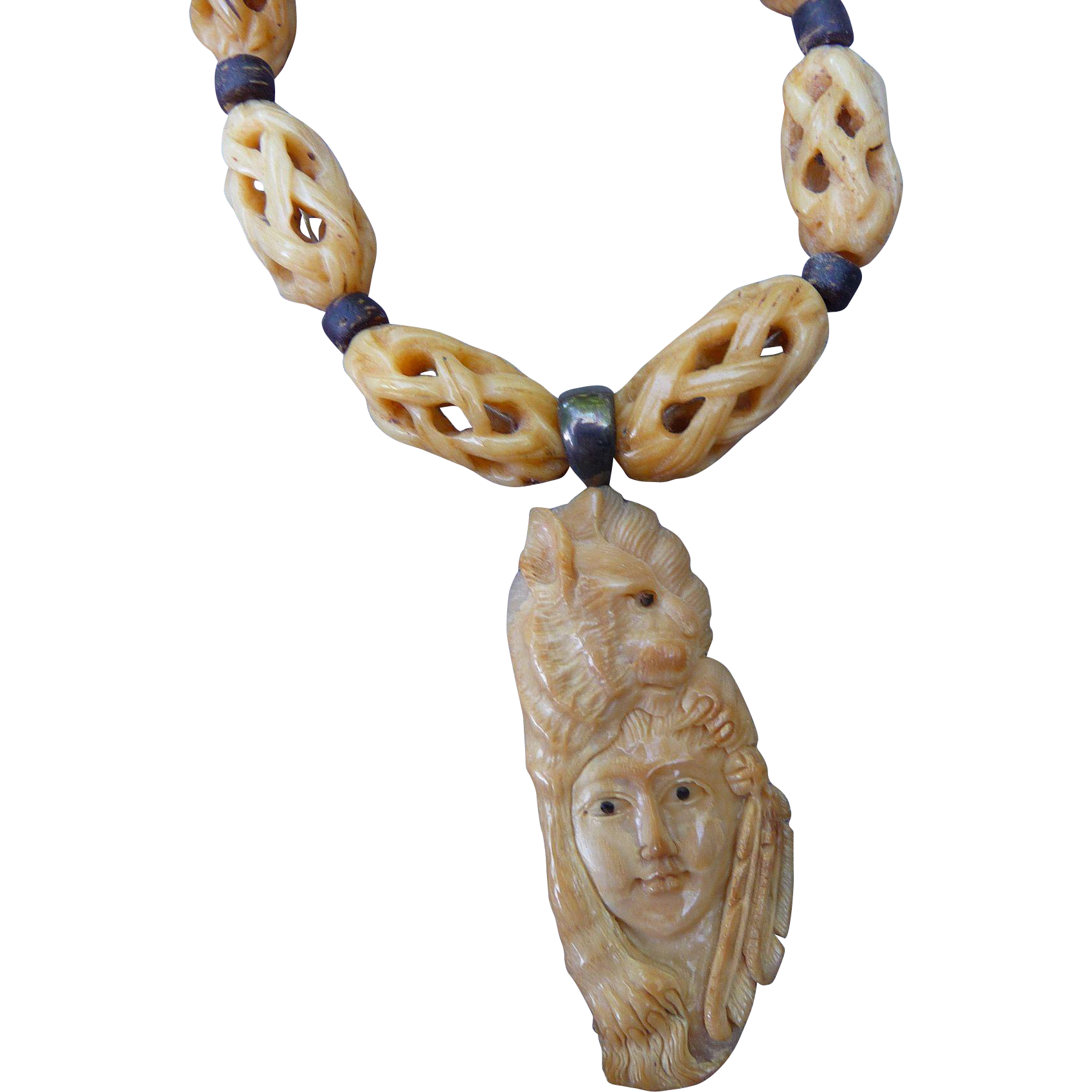 Vintage Native Carved Necklace