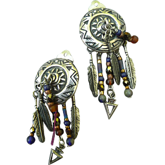 Native American Inspired Vintage Clip on Sterling Silver Earrings