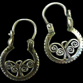 Vintage Sterling Silver Pierced Hoop Earrings