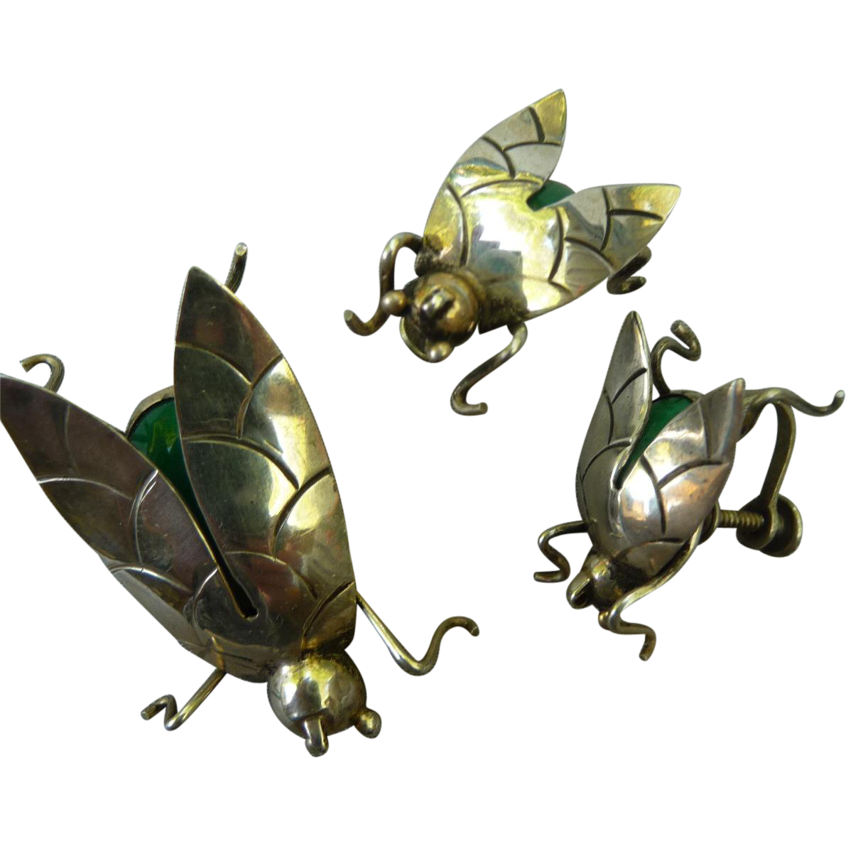 Vintage Mexican Sterling Silver Insect Pin and Earring Set