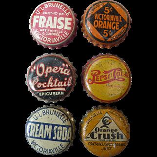 Six early Vintage Pop Bottle caps