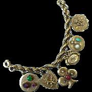 Fantastic Vintage German Gold Toned Charm Bracelet