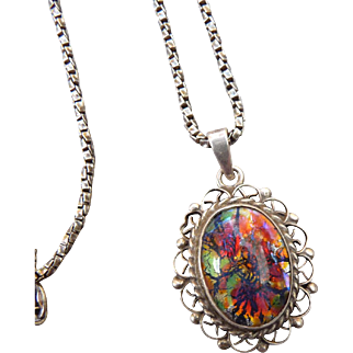 Vintage Mexican Silver Enamel Pendant