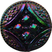Vintage Iridescent Black Glass Button