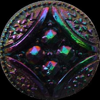 Vintage Iridescent Black Glass Button