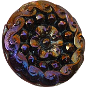 Lovely Vintage Iridescent Black Glass Button