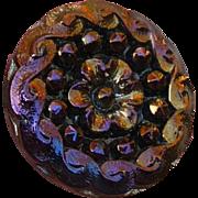 Lovely Vintage Iridescent Black Glass Button