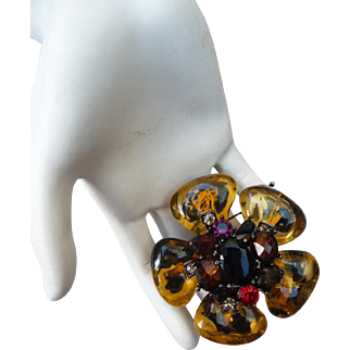 Vintage 1980's Glass and Crystal Flower Pin