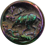 Vintage Iridescent Black Glass Stag Deer Button