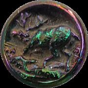Vintage Iridescent Black Glass Stag Deer Button