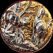 Vintage Iridescent Black Glass Deer Button