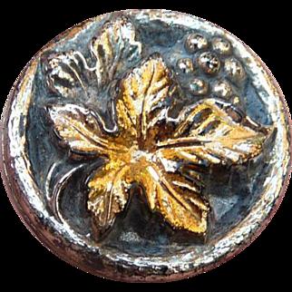 Vintage Iridescent Black Glass Leaf Button