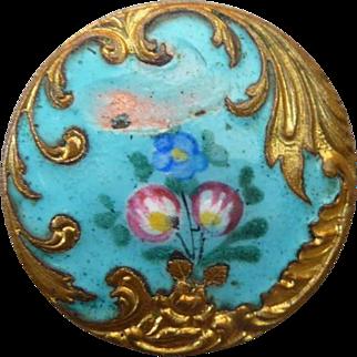 Vintage 1800's Enamel Paris Back Button