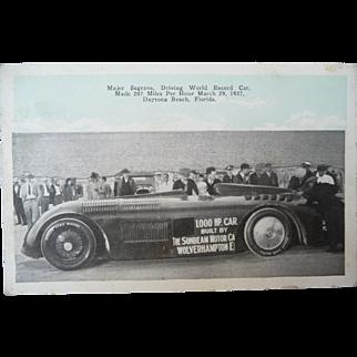 Vintage Major Segrave Driving Record Car Postcard