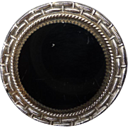 Large Vintage Black Glass Button