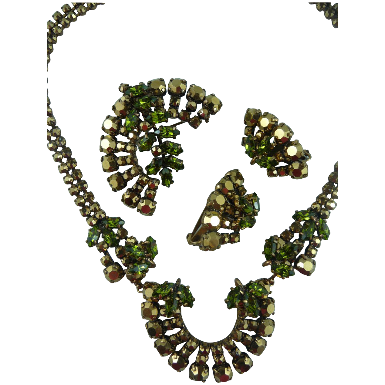 EXQUISITE Vintage Earth toned Necklace, Pin and Earring Set