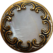 Victorian Brass and Pearl Button