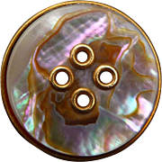 Victorian Pearl and Brass Button