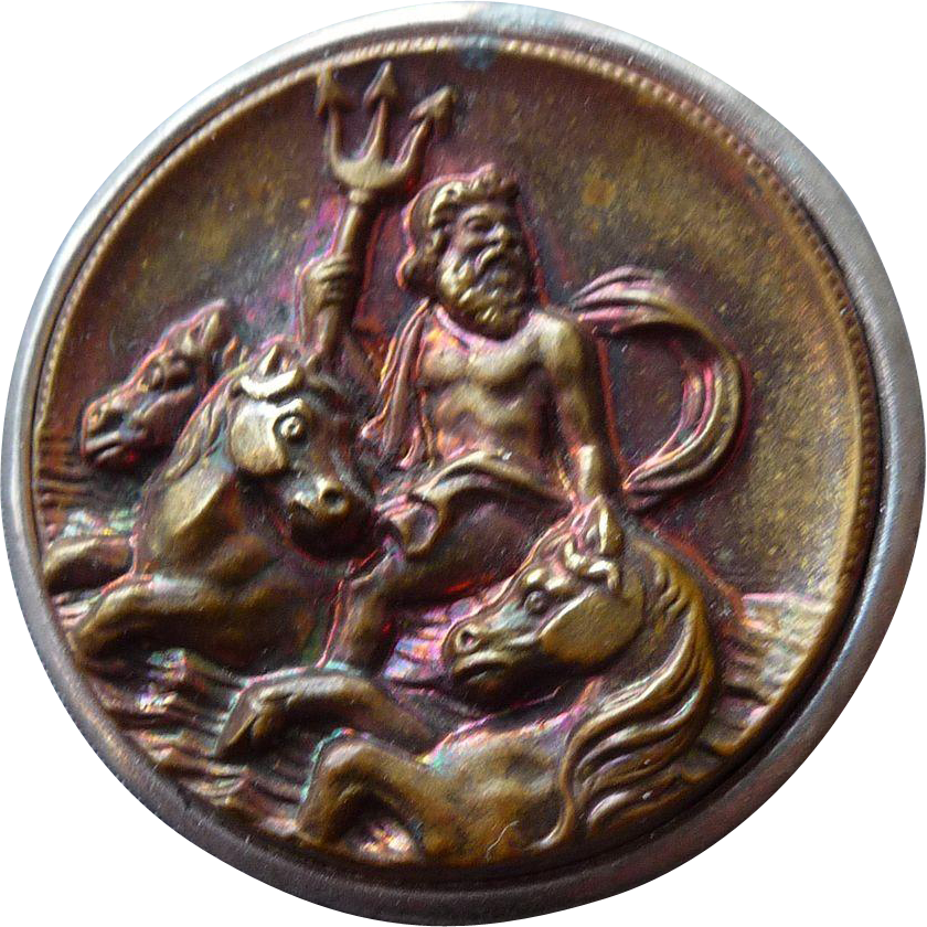 Extra Large Vintage Button of Poseidan