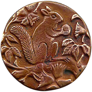 Vintage Victorian Squirrel Button