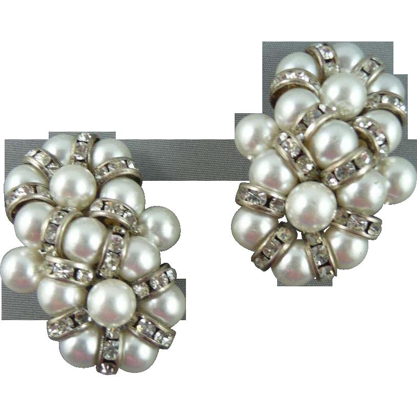 Beautiful Faux Pearl and Rhinestone Vintage Earrings