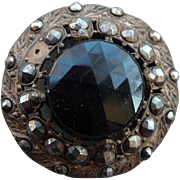Extra Large 1800's Vintage cut Steel and faceted glass Button