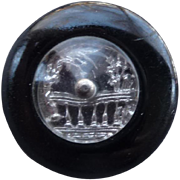 Early Deco Lucite Clear Domed Button